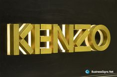 3D LED Backlit Signs With Brushed Brass Letter Shell & 20mm Thickness Acrylic Back Panel For Kenzo