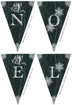 "Printable chalkboard banner ~ ""NOEL"" with snowflakes and bells. by J. Watters"