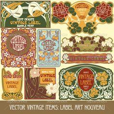 Label art nouveau — Стоковая иллюстрация #14222777