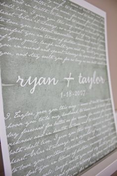 love the idea of a hanging reminder of your wedding vows in your home.