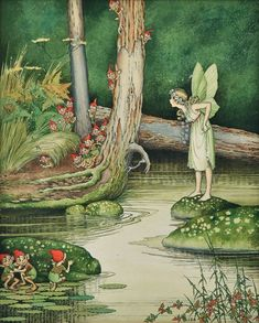 Love this little fairy and gnome artwork by Ida Rentoul Outhwaite (Australian illustrator; 1888-1960)  Check out the little gnomes faces!