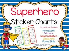 Superhero Sticker Charts Endless uses for classrooms, homeschool, or at home for… Kindergarten Classroom Organization, Kindergarten Themes, Teacher Organization, School Classroom, First Day Of School Activities, School Resources, Classroom Resources, Teacher Resources, Teaching Materials