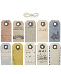 Vintage Travel Tags......Can use as business cards in Japan with our contact info.