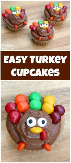 Easy Turkey Cupcakes - such a fun treat for Thanksgiving that will take you just minutes to make. Decorated with chocolate buttermilk frosting and candies! Turkey Cupcakes for Thanksgiving Easy Thanksgiving Turkey Cupcakes Thanksgiving Cupcakes, Turkey Cupcakes, Thanksgiving Snacks, Thanksgiving Turkey, Cupcakes Fall, Turkey Cake, Turkey Food, Turkey Cookies, Holiday Cupcakes