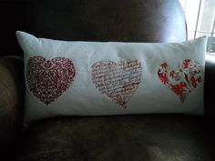 """Embroidered """"Hearts"""" cushion"""