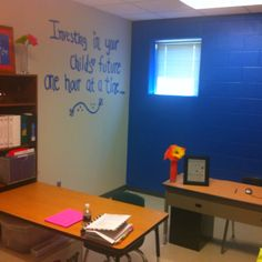 PTA makeover! All the walls were white and no work space. Now this PTA room is a place that board members can enjoy!