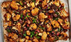 Roast cauliflower with chorizo and green olives