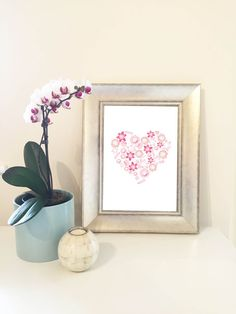 Pretty in Pink! Floral heart wall art from the Studio Sidney etsy shop!