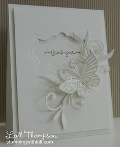 handmade thank you card from Stamping with Loll ... white on white ... die cuts! ... butterfly, foliage flourish ... negative space label  holding the sentiment ... delightful!