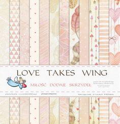 """Zestaw papierów """" Miłość dodaje skrzydeł """" 30x30"""