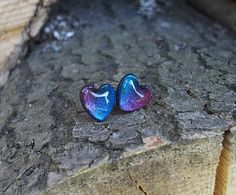 Lostangela / Kovové fialovo-modré srdiečka 9 mm, earrings, studs, hearts, polymer, clay, metalic