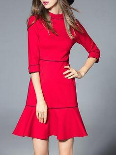 Shop Mini Dresses - Red Plain Half Sleeve Mini Dress online. Discover unique designers fashion at StyleWe.com.