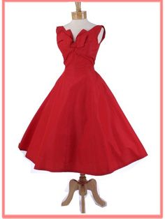 1950s Red Taffeta Petal Bust Princess Style Tea Length Dress