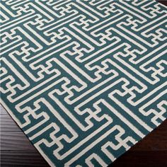 Grecian Maze Dhurrie Rug: 9 Colors peacock blue