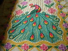 vintage chenille peacock beadspread  kinda kooky  kinda love it :)  $157.50  ~ VINTAGE THICK CHENILLE BEDSPREAD GORGEOUS SINGLE PEACOCK DESIGN FLUFFY NICE ~ | eBay