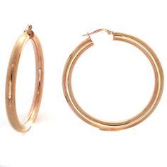 "Bronzo Italia Rose Gold Bold Round 2"" Hoop Earrings #BronzoItalia #Hoop"