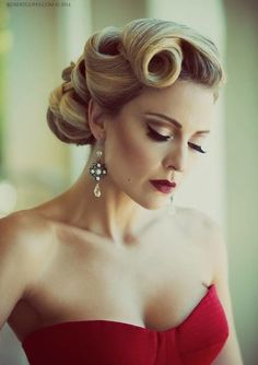 Do it with style and grace. Vintage updo style. Updos for medium hair with retro flare. Hair and dress look amazing.
