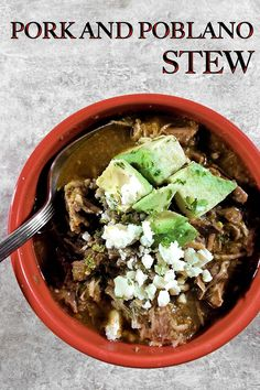 Pork and Poblano Stew is rich, earthy, low carb, and oh… so tasty! This is a perfect Sunday afternoon recipe that can be made ahead and frozen for later. Pepper Recipes, Chili Recipes, Best Dinner Recipes Ever, Beef Rump Roast, Hot Pepper Sauce, Stuffed Poblano Peppers, Healthy Soups, Pork Ribs