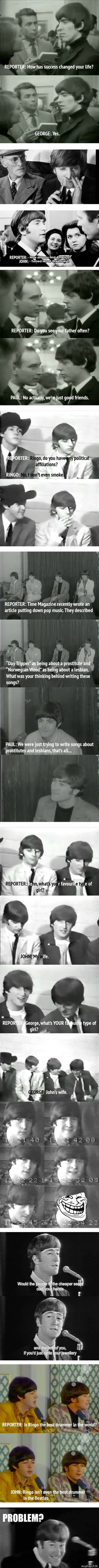 Interviewing The Beatles c: Oh I love them.. Surprisingly, reminds me of One Direction a little...