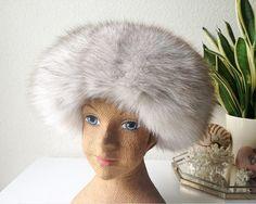 Vintage fox fur hat fluffy real fur winter cap mod by SadRosetta