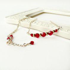 Beaded Bar Necklace  Garnet Red Crystal by ReneeBrownsDesigns, $35.00 #handmade #jewelry #red #garnet #january #birthstone