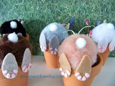 Curious Little Bunny Pots /  Whimsical Decoration / Bunny In Flower Pot / Bunny Butt / Easter Decoration / Shelf Sitter / Fat Bunny Rabbit