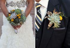 Succulent bouquet and boutonniere