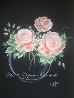 roses in a vase - one stroke painting