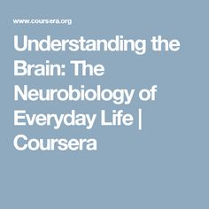 Understanding the Brain: The Neurobiology of Everyday Life | Coursera