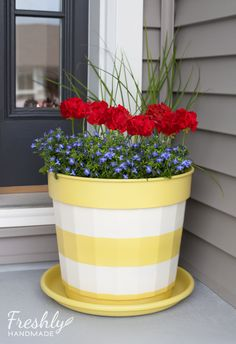 Freshly Handmade: Summer Spruce Up: Painted Planter Tutorial