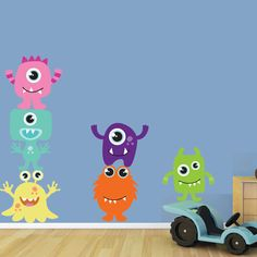 @Charise Schwertfeger ... this to make a growth chart, cute!....REUSABLE Wall Decal - Monsters Wall Decal -  Reusable Childrens Fabric Wall Decal - SK325SWA. $88.00, via Etsy.