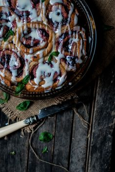 Blackberry Sticky Buns with Goat Cheese Frosting