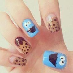 Cookie Monster nail art. So cute!