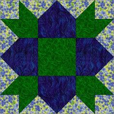 Various 12 inch block patterns good site - DS fabrics Quilt Block Patterns 12 Inch, Quilt Square Patterns, Pattern Blocks, Square Quilt, Quilt Blocks, Star Blocks, Quilting Projects, Quilting Designs, Bright Quilts
