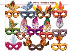 Unique Carnival Printable Masks Collection,masquerade,party,birthday,Invite,mask,Carnival in Brazil,shimmer,glitter,prop,photobooth by HolidayPartyStar, $12.75 USD