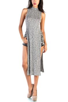 LoveMelrose.com From Harry & Molly High Neck Side open Dress - Gray