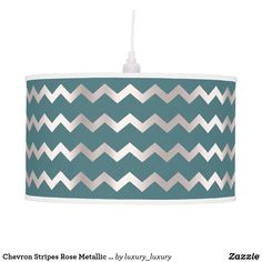 Shop Chevron Stripes Rose Metallic Teal Green Woodland Ceiling Lamp created by luxury_luxury. Ceiling Hooks, Ceiling Lamp, Metallic Blue, Blue Gold, Dark Blue, Chevron Table, Linen Lamp Shades, Incandescent Light Bulb, Teal Green