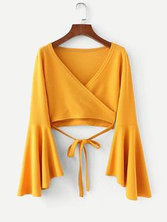 To find out about the Bell Sleeve Knotted Hem Surplice Blouse at SHEIN, part of our latest Blouses ready to shop online today! Girls Fashion Clothes, Teen Fashion Outfits, Chic Outfits, Hijab Fashion, Trendy Outfits, Girl Outfits, Fashion Dresses, Blouse Styles, Blouse Designs