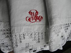 Antique pure linen shams,pillowcases Hand embroidered Monograms/lace. French pure linen. pure linen bedding, Perfect/superb quality. Buttonholes, Pillowcases, Cottage Chic, Monograms, Country Decor, Crochet Lace, Linen Bedding, Hand Sewing, Master Bedroom