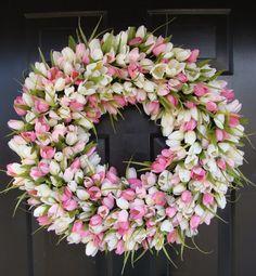 Spring Wreath- Pink Mini Tulip Spring Wreath- Front Door Wreath for Spring