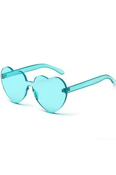 a867f39393 Women Green Heart Shape Rimless Clear Sunglasses - One Size