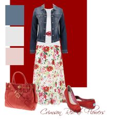 Crimson Red & Flowers by hadley156799 on Polyvore featuring Ralph Lauren Black Label, Silver Jeans Co., Gorgeous, TOMS and Rachel Zoe