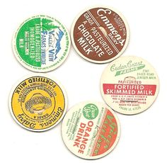 Refrigerator magnets from vintage milk and juice bottle caps craft idea and free DIY tutorial
