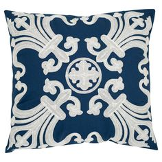 Scrolling embroidery gives this cotton pillow its elegant feel. Toss it on a tufted sofa or arm chair to complete the look, or add it to a group of cushions ...