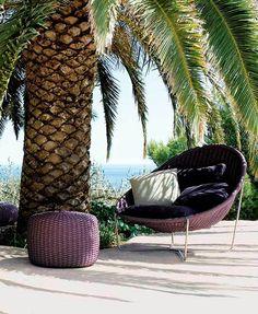 Paola Lenti   Arm Chair   Purple   Hand woven   Nido   Pouf   Outdoor