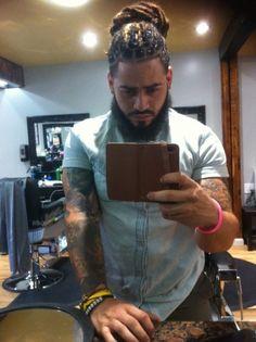 Beard, tatts, locs. Yes. Please.