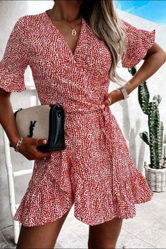 Red wrap dress, summer dress, wrap dress, red dress, mini dress, wrap style dress, short dress, frill detail dress Red Wrap Dress, Short Dresses, Summer Dresses, Dress First, Online Boutiques, Wrap Style, No Frills, Fashion Online, Fashion Dresses