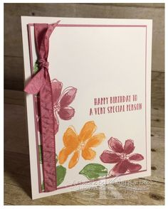 "Faithful INKspirations: Sugarplum Flowers is made with Stampin' Up's ""Penned & Painted"" and ""Oh So Succulent"" stamp sets Birthday Cards, Happy Birthday, Painted Paper, Special Person, Some Ideas, Petunias, Flower Photos, Paper Size, Stampin Up"