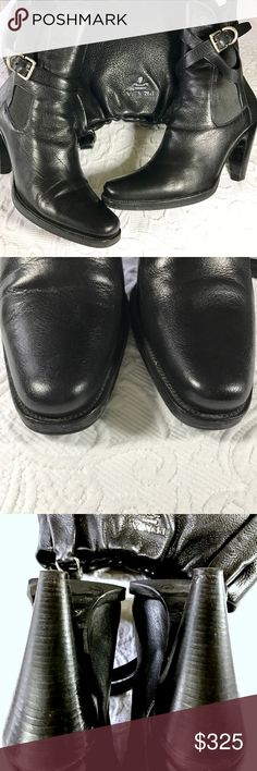 """Prada Black Crisscross Strap Booties Gorgeous black leather Prada booties with crisscross strap and adjustable silver  buckle. 4"""" tapered Stacked Heel. Great condition. Left heel has a small ding and is priced to reflect this. See pic 4. No trades. Final sale. Please ask any questions!✨💫 Prada Shoes Ankle Boots & Booties"""