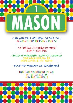 Sesame Street 1st Birthday Invitations